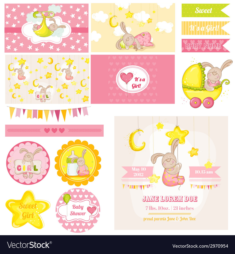 Baby shower bunny theme vector | Price: 1 Credit (USD $1)
