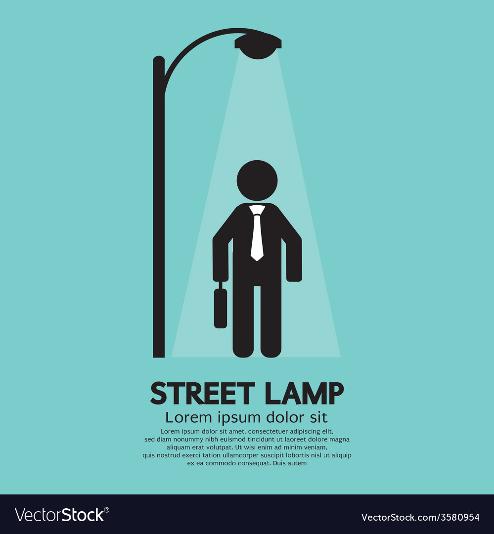 Businessman walking under street lamp vector | Price: 1 Credit (USD $1)