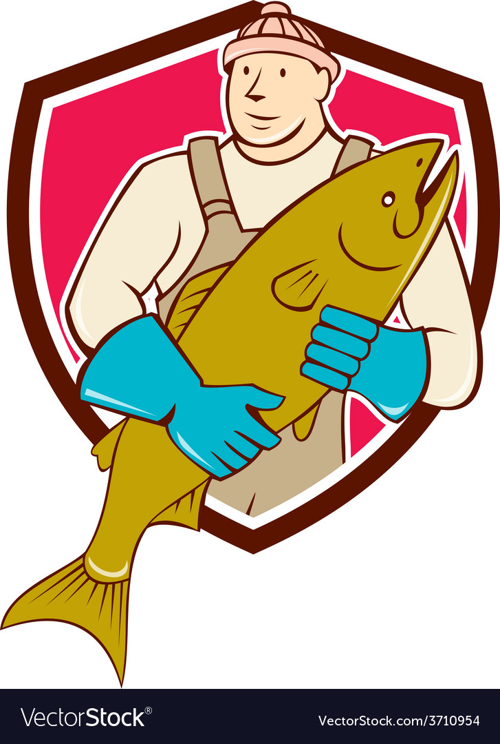Fishmonger holding salmon fish shield cartoon vector | Price: 1 Credit (USD $1)