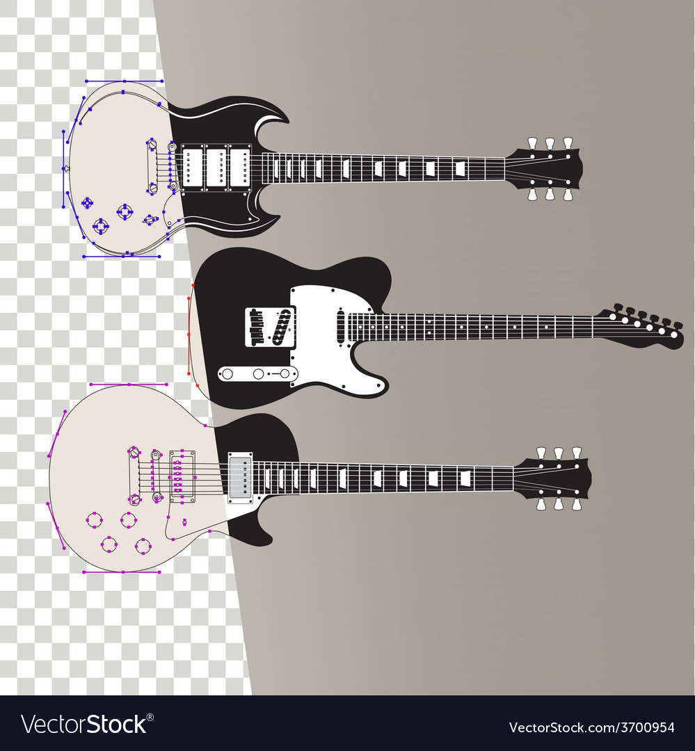Guitars in outline vector | Price: 1 Credit (USD $1)