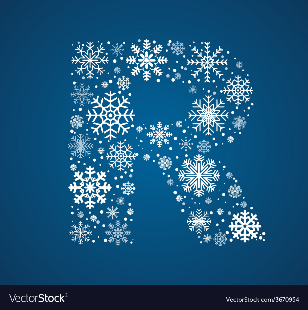 Letter r font frosty snowflakes vector | Price: 1 Credit (USD $1)
