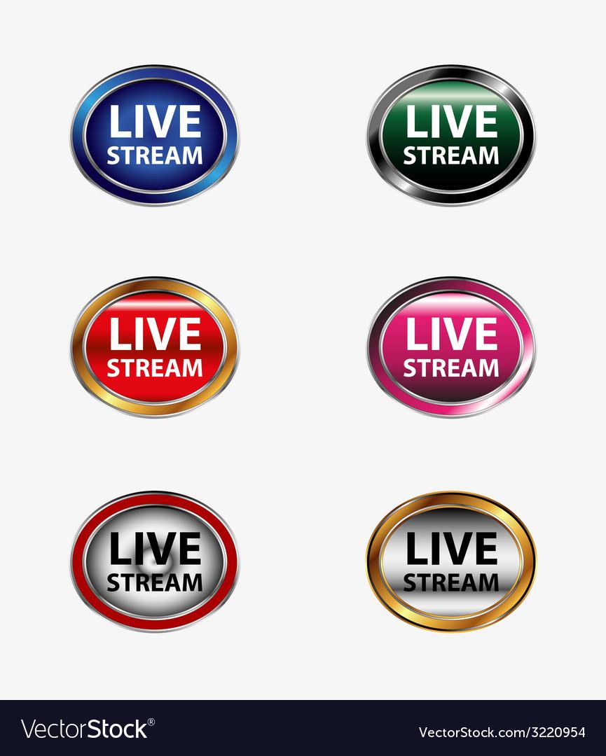 Live stream icon button set vector | Price: 1 Credit (USD $1)