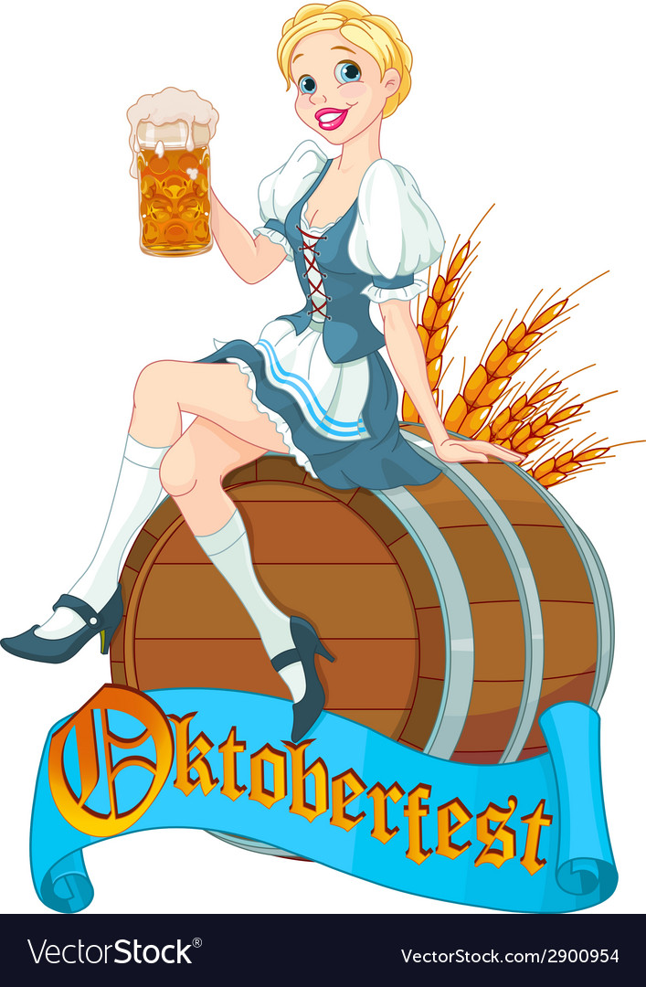Oktoberfest girl on the keg vector | Price: 3 Credit (USD $3)