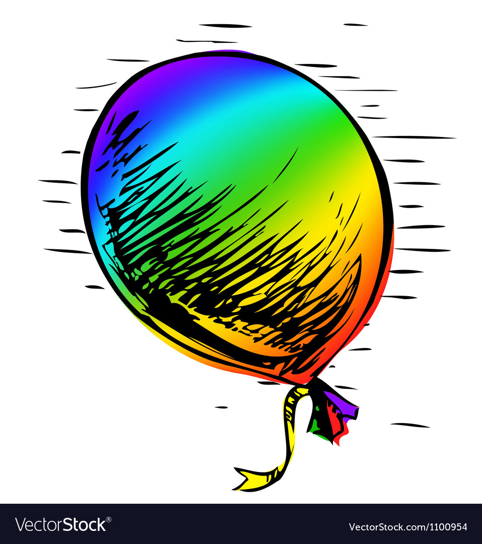 Party balloon with ribbon vector   Price: 1 Credit (USD $1)