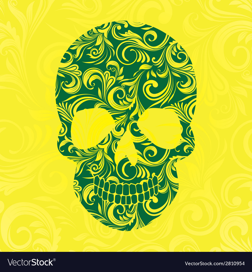 Skull swirl ornament yellow vector | Price: 1 Credit (USD $1)