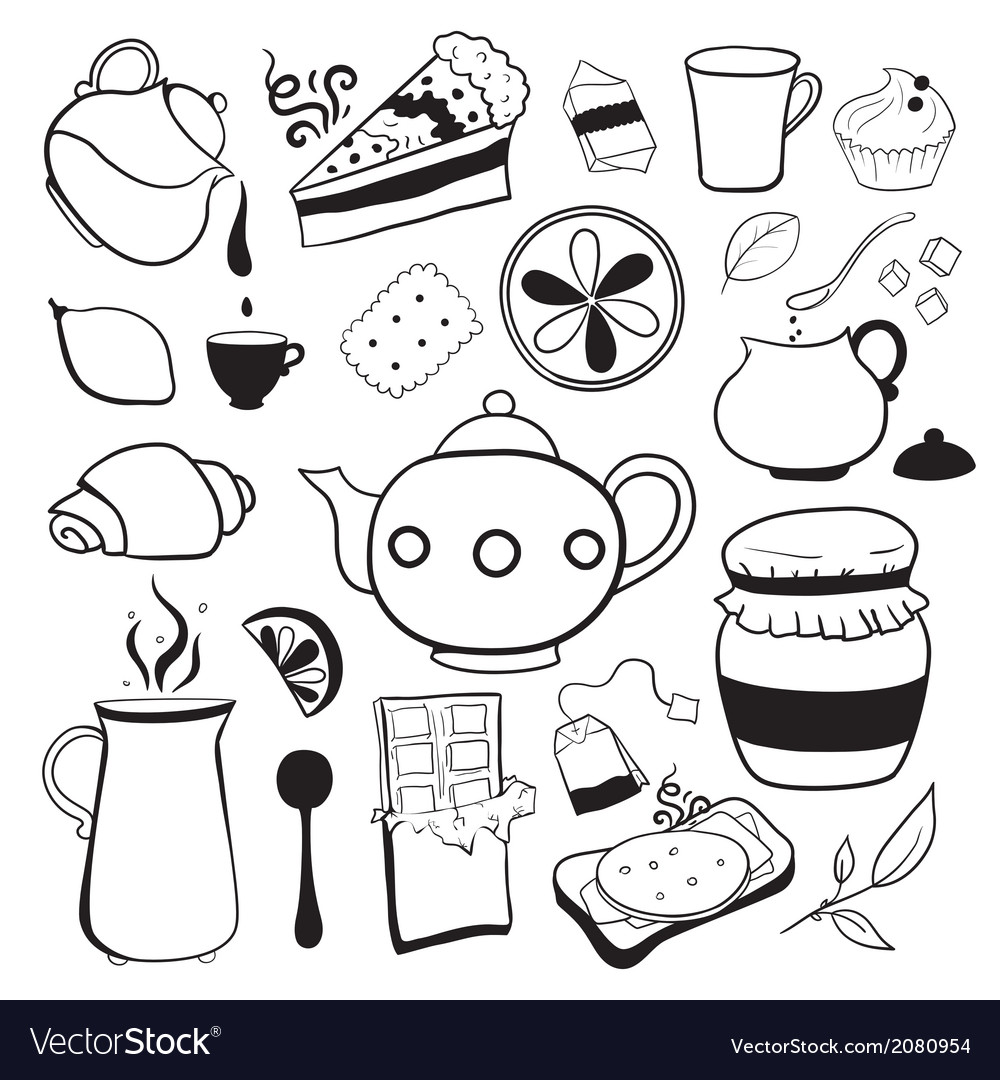 Tea and sweets black and white objects vector | Price: 1 Credit (USD $1)