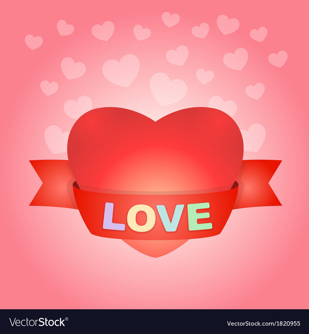 Big love heart on pink vector | Price: 1 Credit (USD $1)