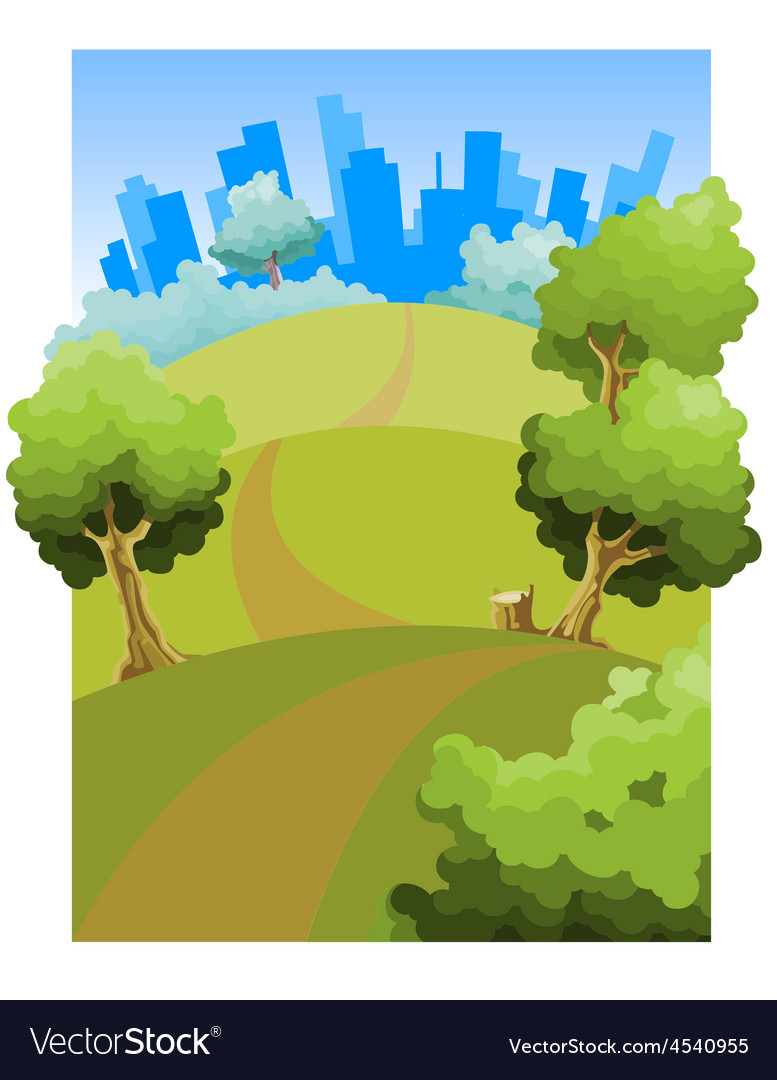 Cartoon road through the fields to the city vector | Price: 1 Credit (USD $1)
