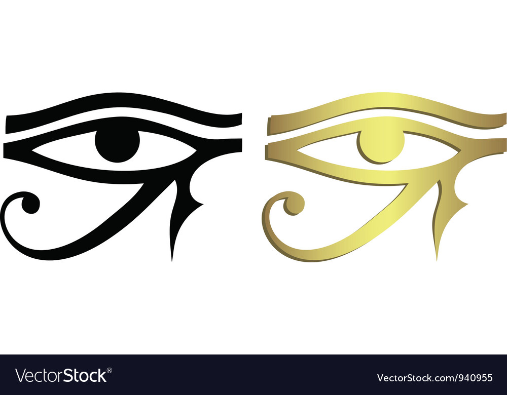 Eye of horus in black and gold vector