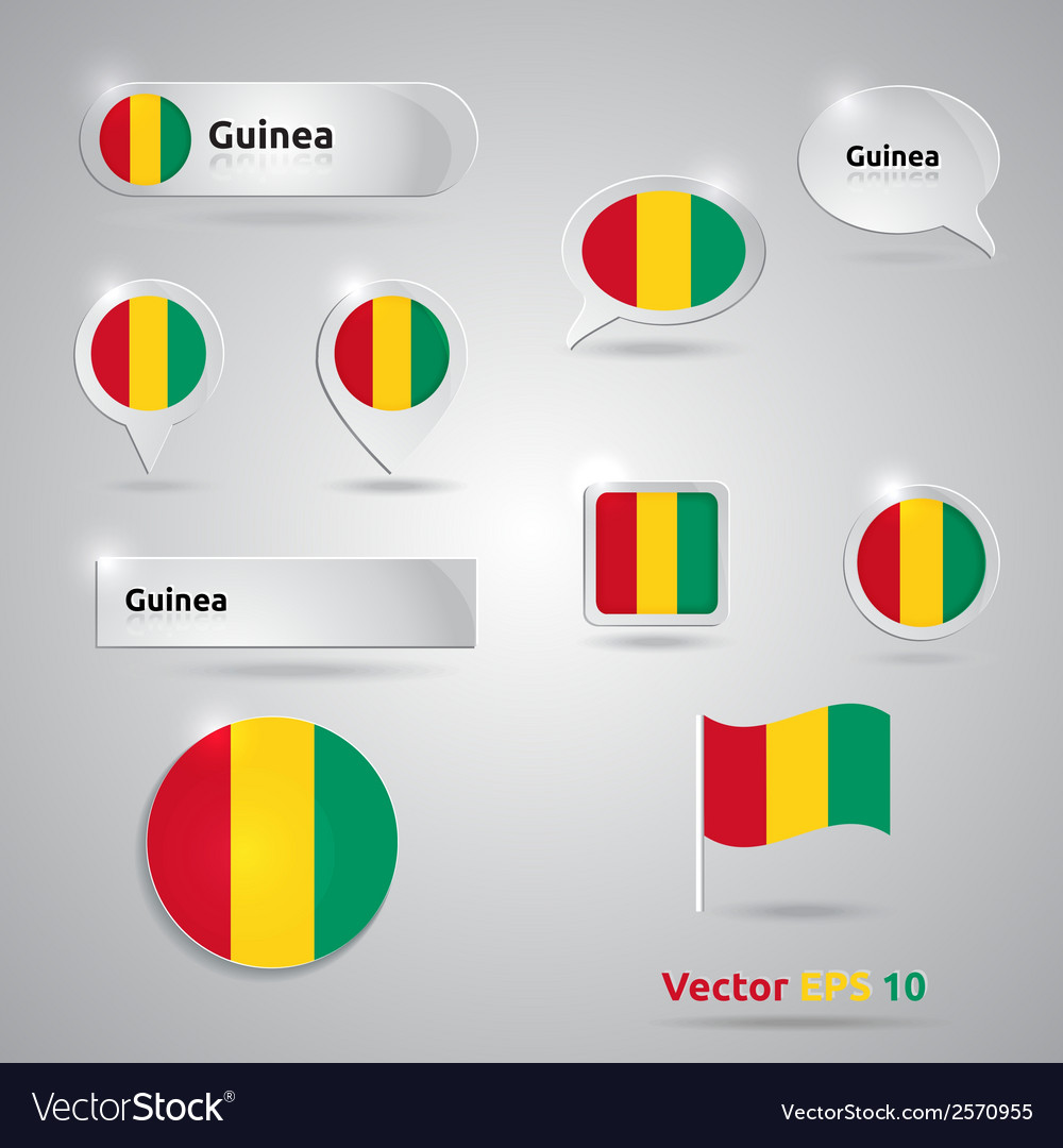 Guinea icon set of flags vector | Price: 1 Credit (USD $1)