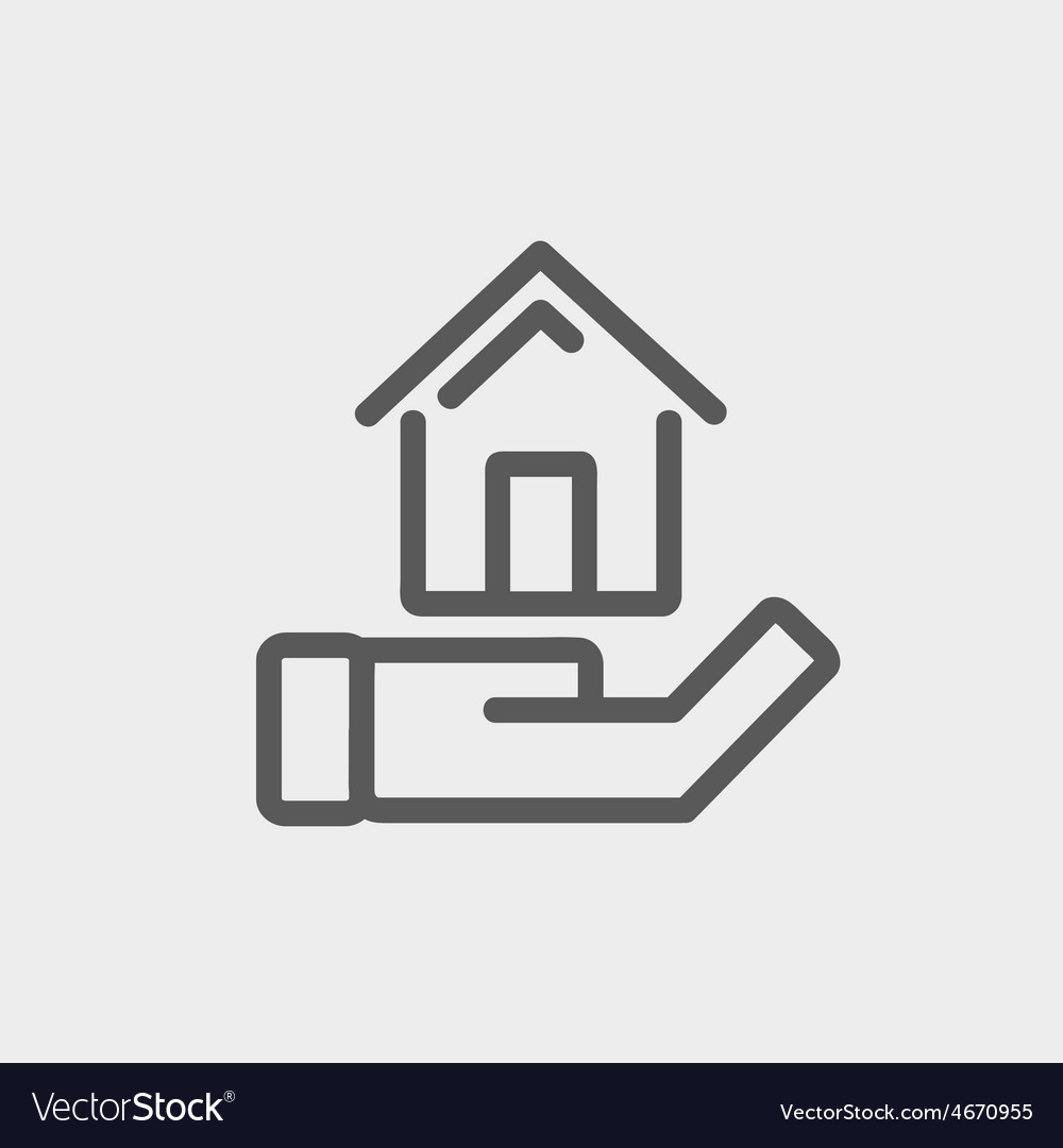 Hand holding house thin line icon vector