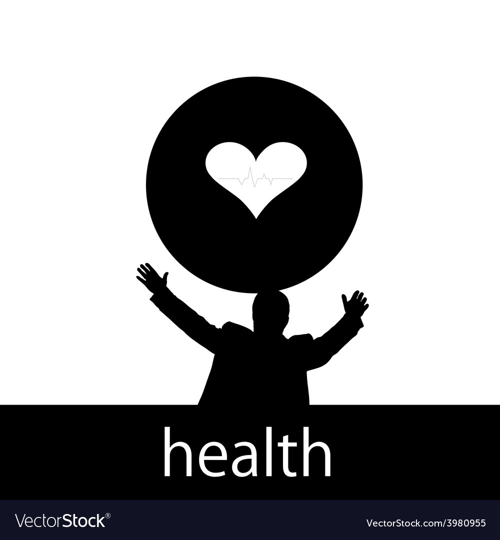 Health with man and heart silhouette vector | Price: 1 Credit (USD $1)