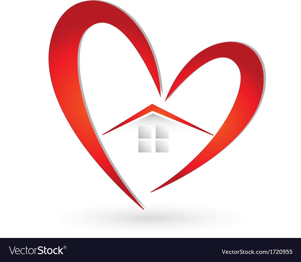 House and heart logo vector | Price: 1 Credit (USD $1)