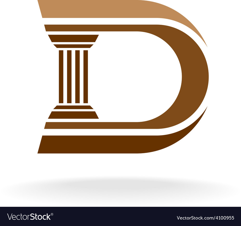 Letter d with column integrated sign lawyer vector | Price: 1 Credit (USD $1)