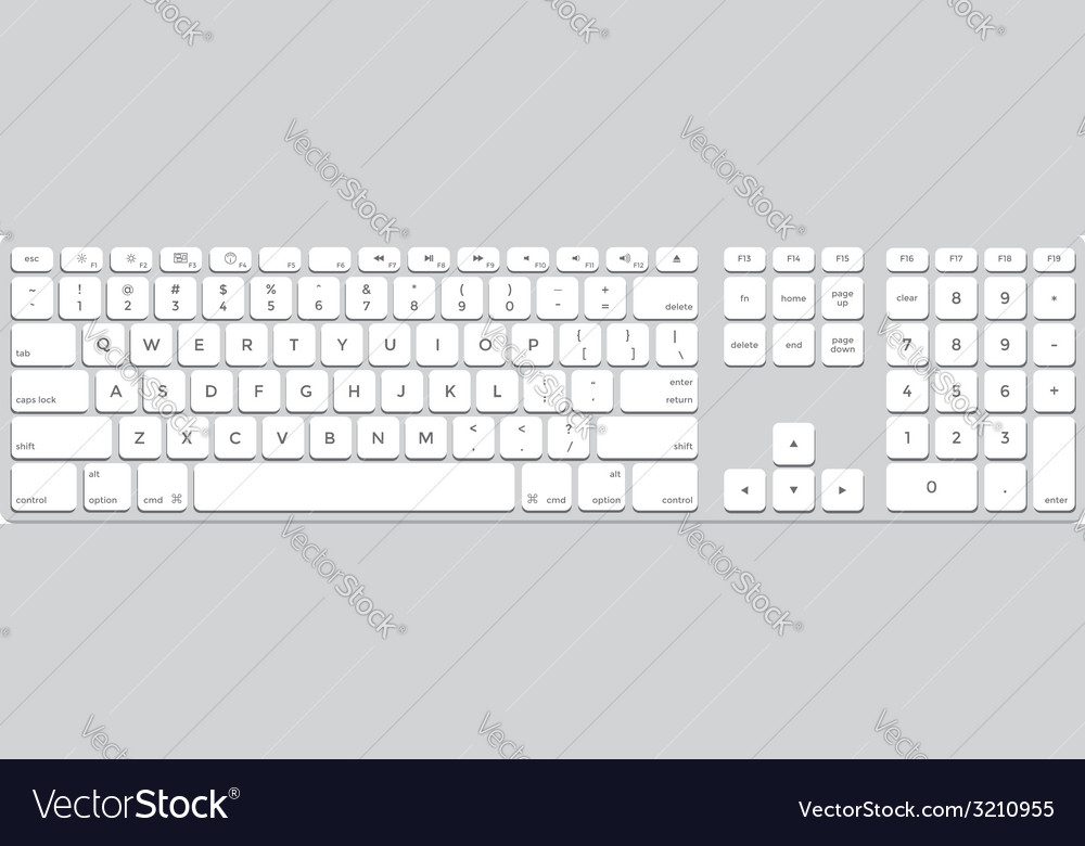 Long aluminum computer keyboard vector | Price: 1 Credit (USD $1)