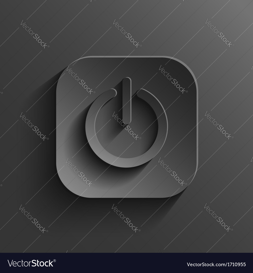 Power icon - black app button vector | Price: 1 Credit (USD $1)