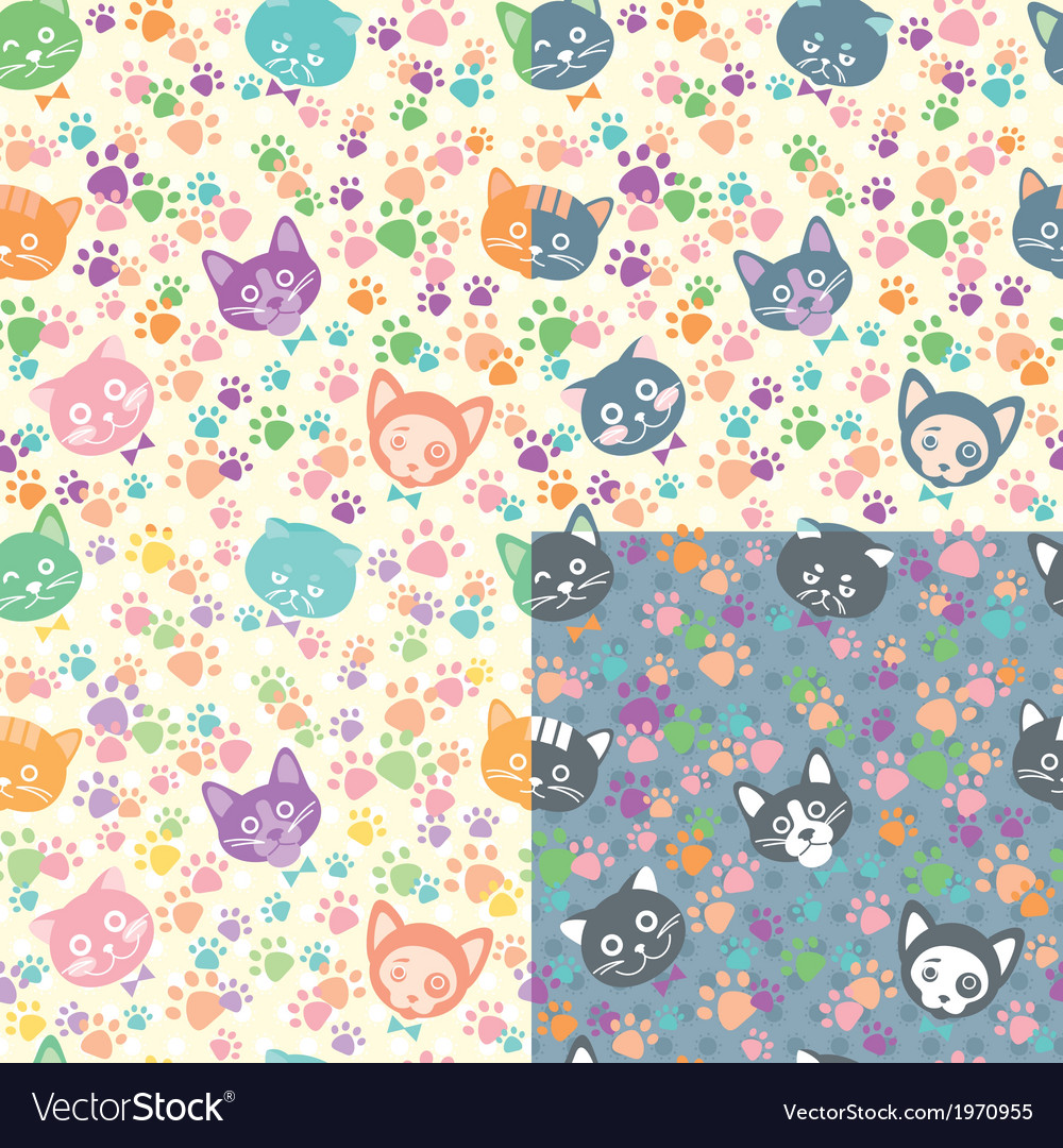 Seamless background cat faces vector | Price: 1 Credit (USD $1)