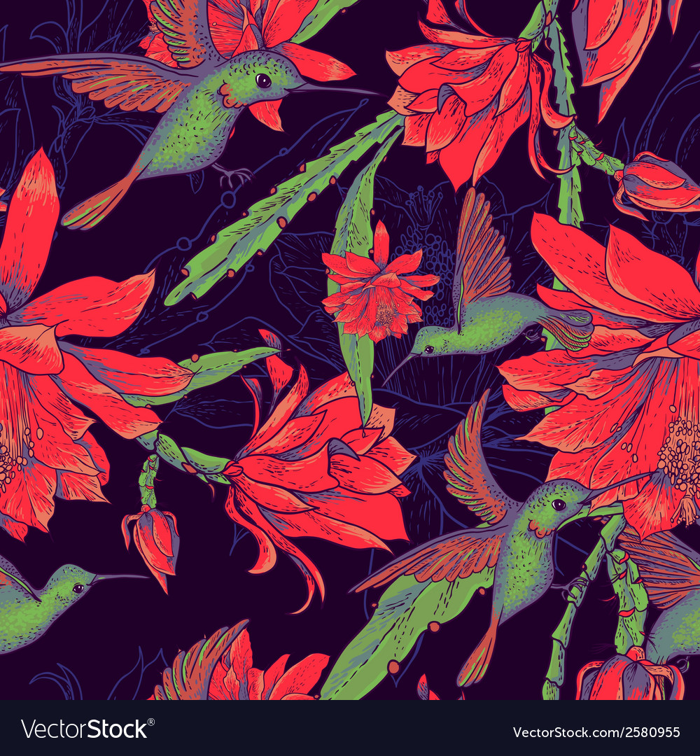 Seamless background flowers and hummingbirds vector   Price: 1 Credit (USD $1)