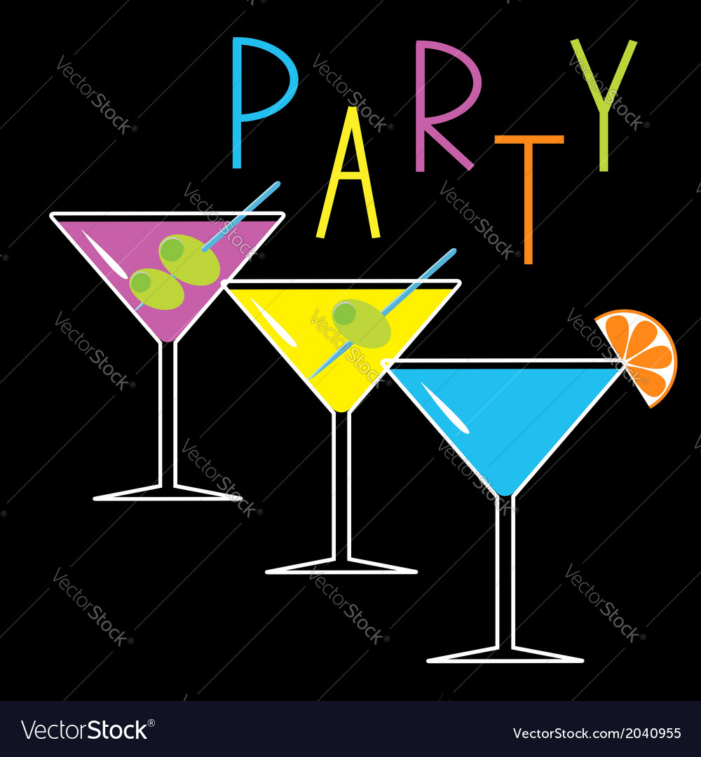 Set of three glasses with cocktails party card vector | Price: 1 Credit (USD $1)