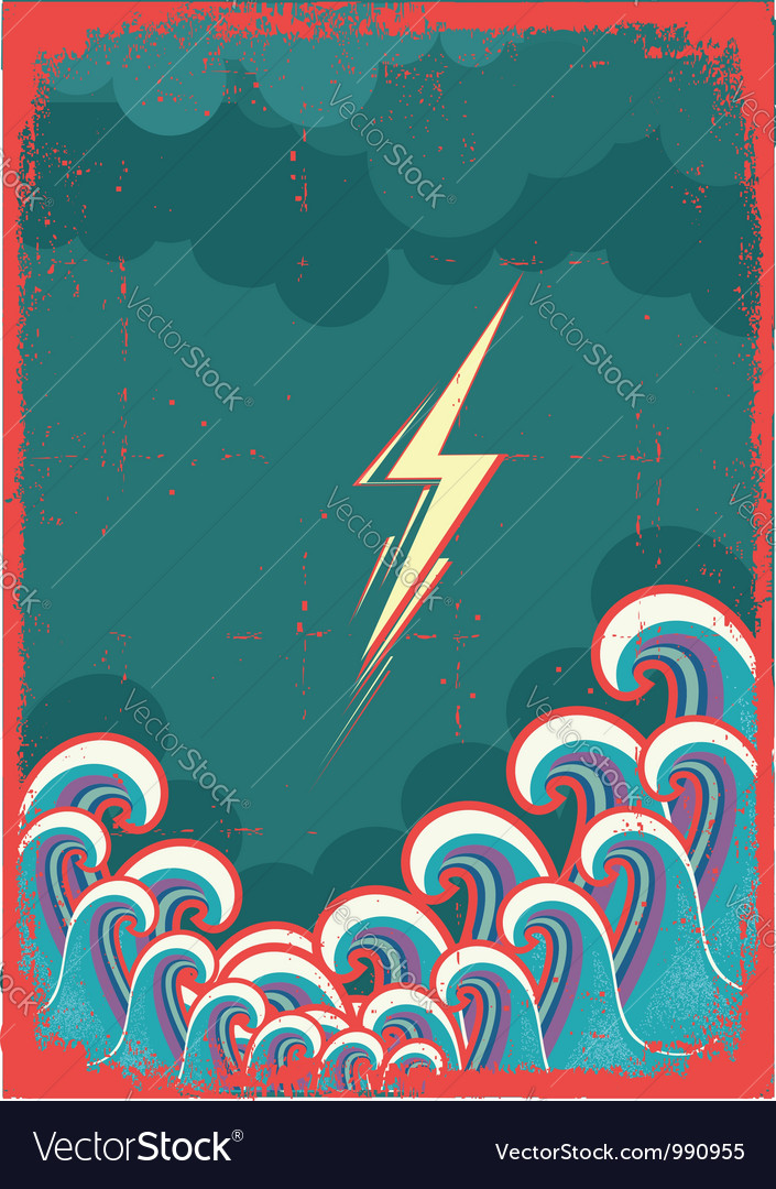 Storm in ocean with waves and lightning grunge vector | Price: 1 Credit (USD $1)