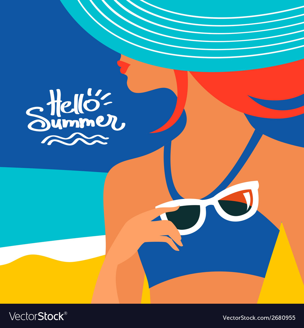Summer background with beautiful woman silhouette vector | Price: 1 Credit (USD $1)