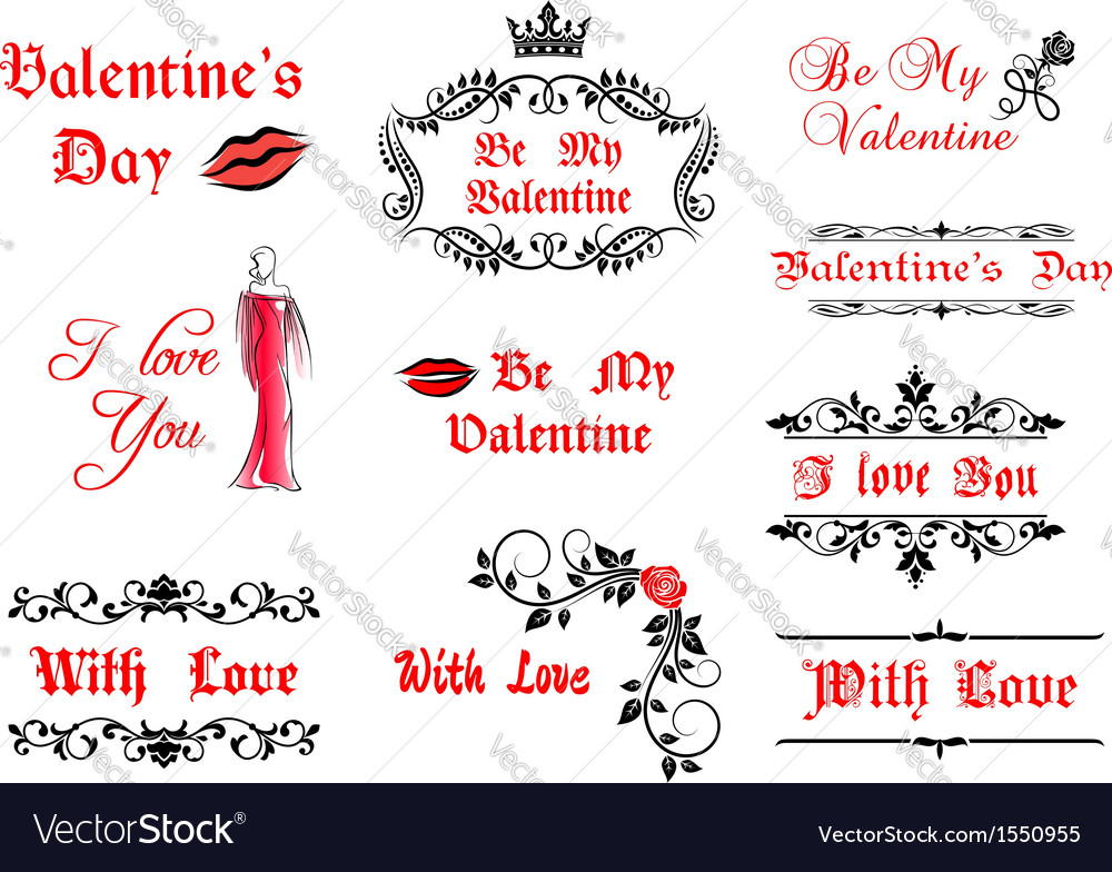 Valentines day calligraphic elements and symbols vector | Price: 1 Credit (USD $1)