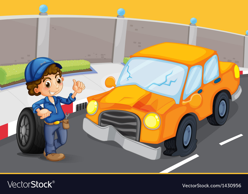 An orange car at the road with a flat tire vector | Price: 1 Credit (USD $1)
