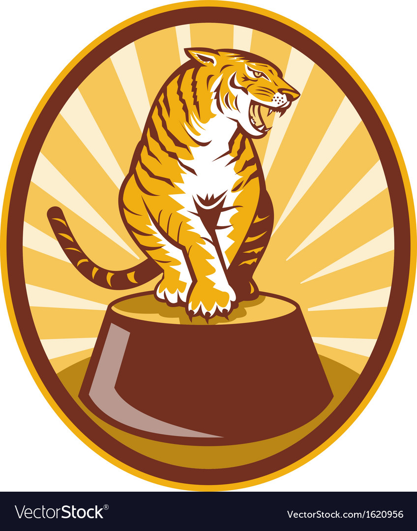 Angry tiger sitting on top of plinth vector | Price: 1 Credit (USD $1)