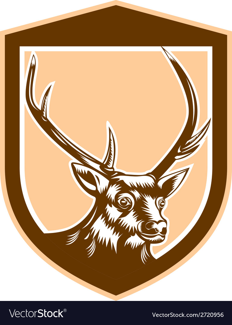 Deer stag buck head woodcut shield vector | Price: 1 Credit (USD $1)