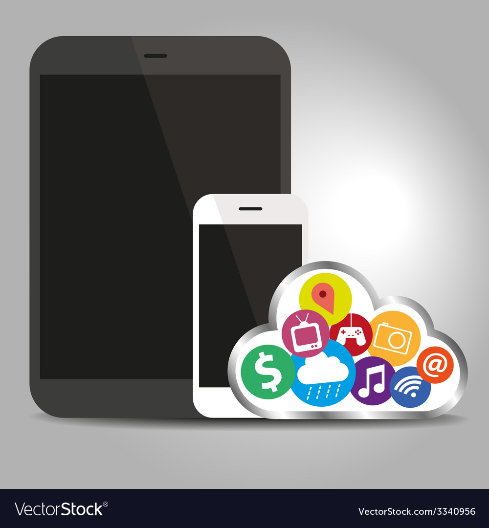 Devices technology with cloud concept vector | Price: 1 Credit (USD $1)