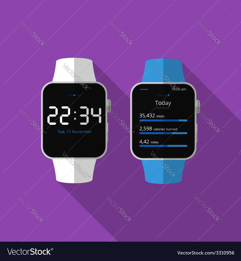 Flat smart watch with long shadow icon vector | Price: 1 Credit (USD $1)
