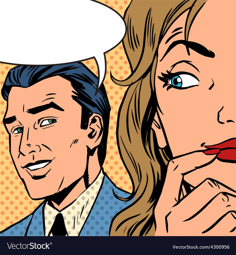 Man calls woman retro style comic pop art vintage vector | Price: 1 Credit (USD $1)