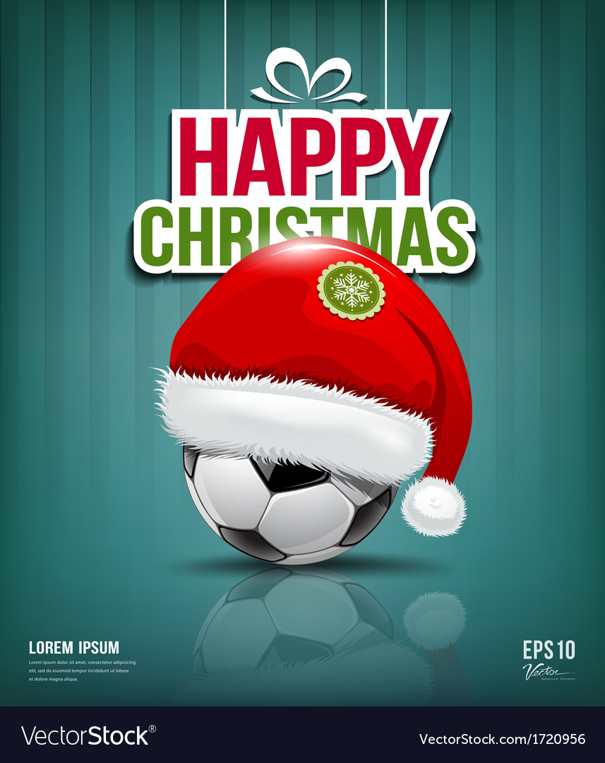 Merry christmas santa hat on soccer ball vector | Price: 1 Credit (USD $1)