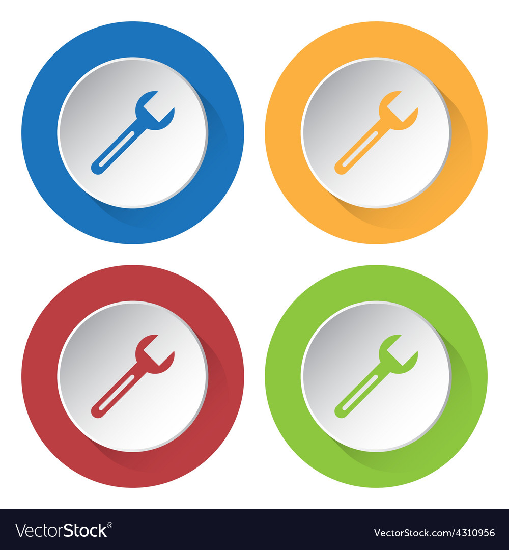 Set of four icons with spanner vector | Price: 1 Credit (USD $1)