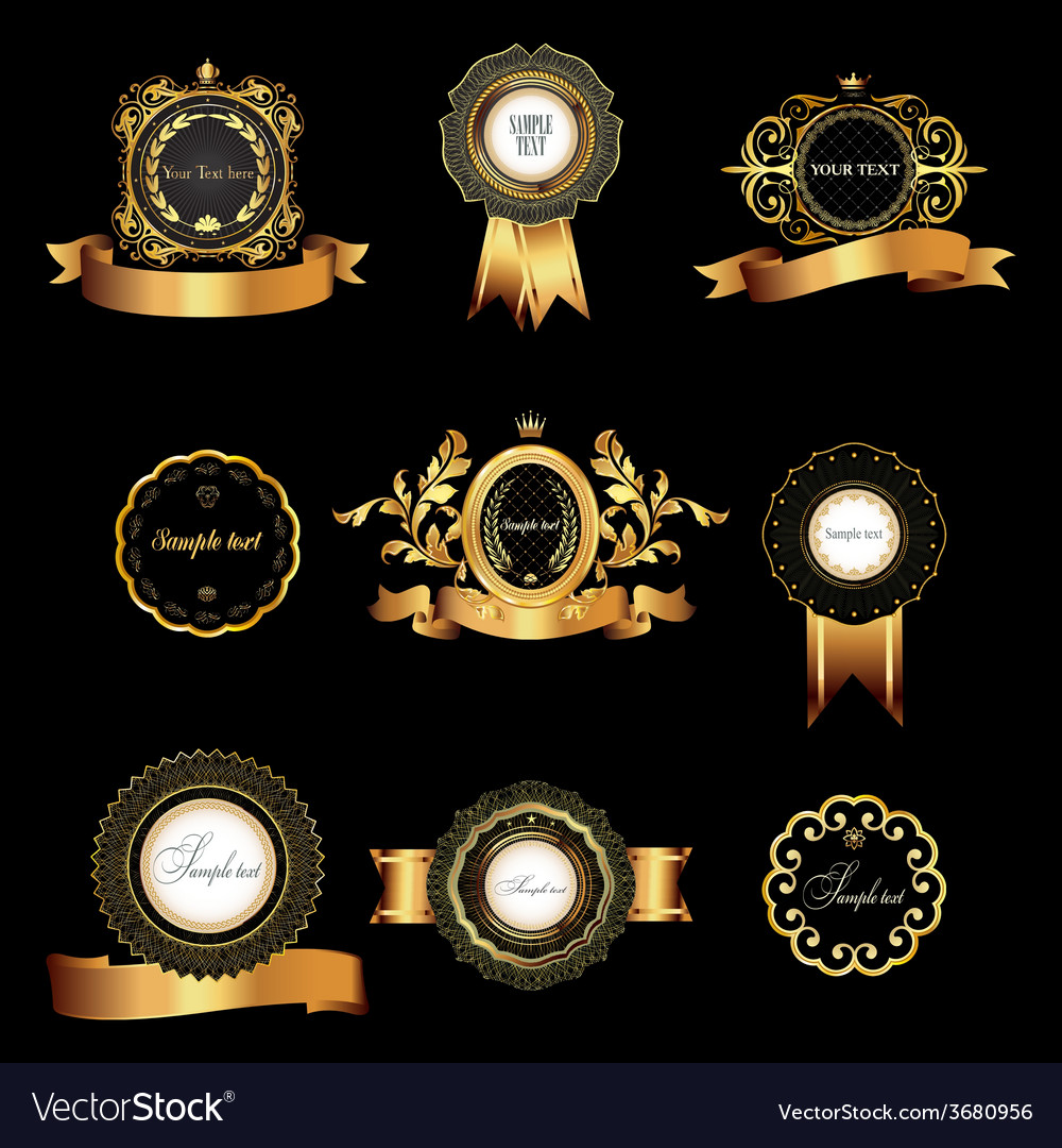 Set of vintage gold-framed labels vector | Price: 1 Credit (USD $1)