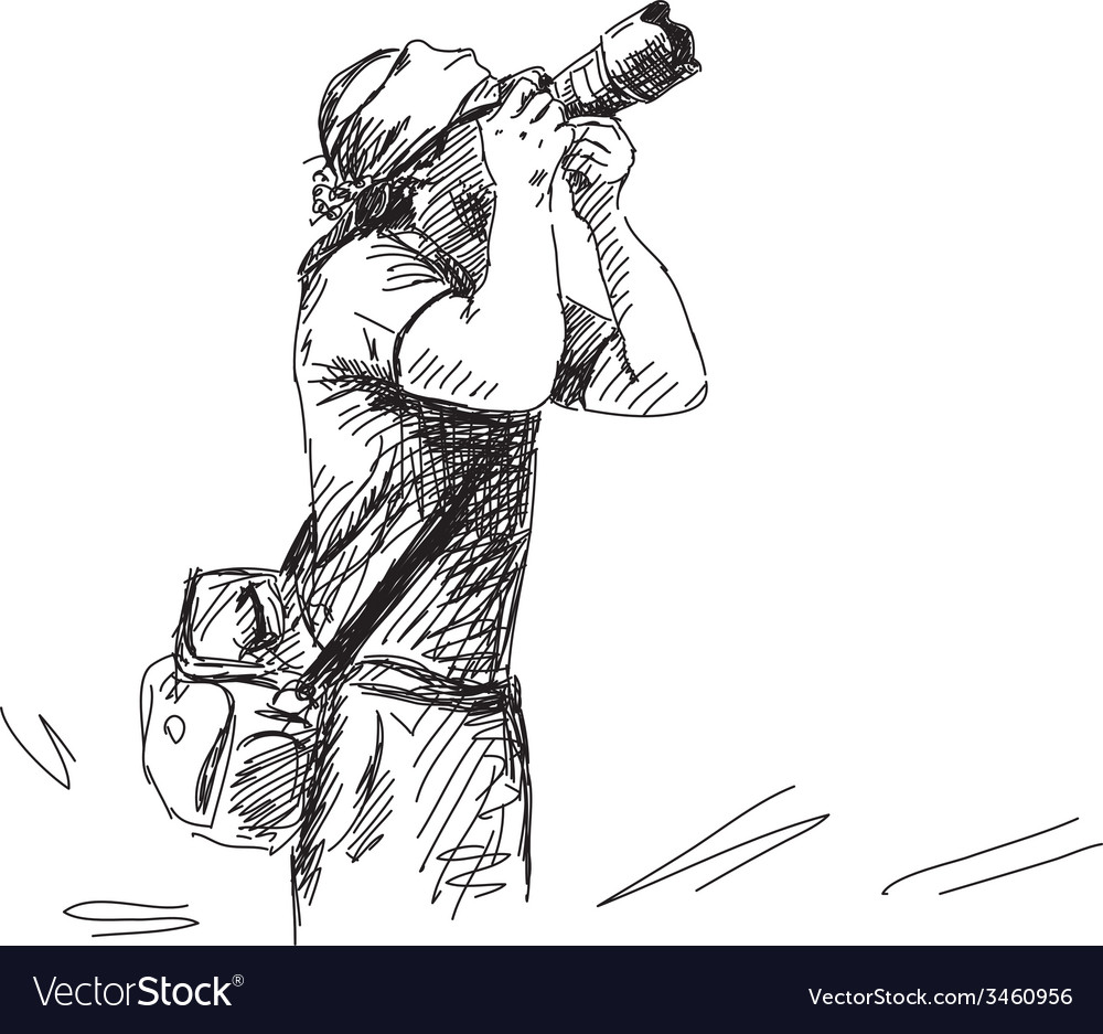 Sketch of photographer vector | Price: 1 Credit (USD $1)