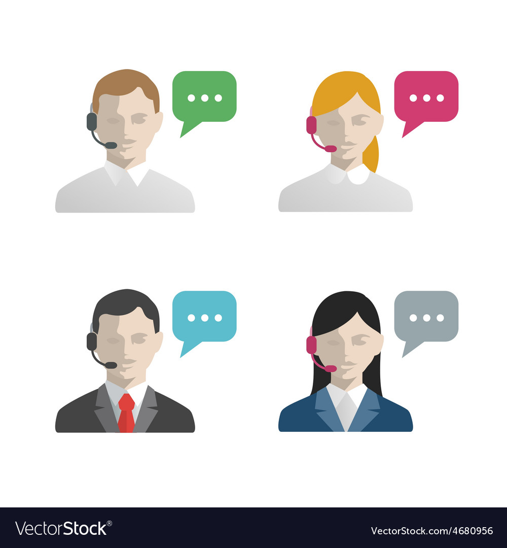 Support and call center avatar flat icons vector | Price: 1 Credit (USD $1)