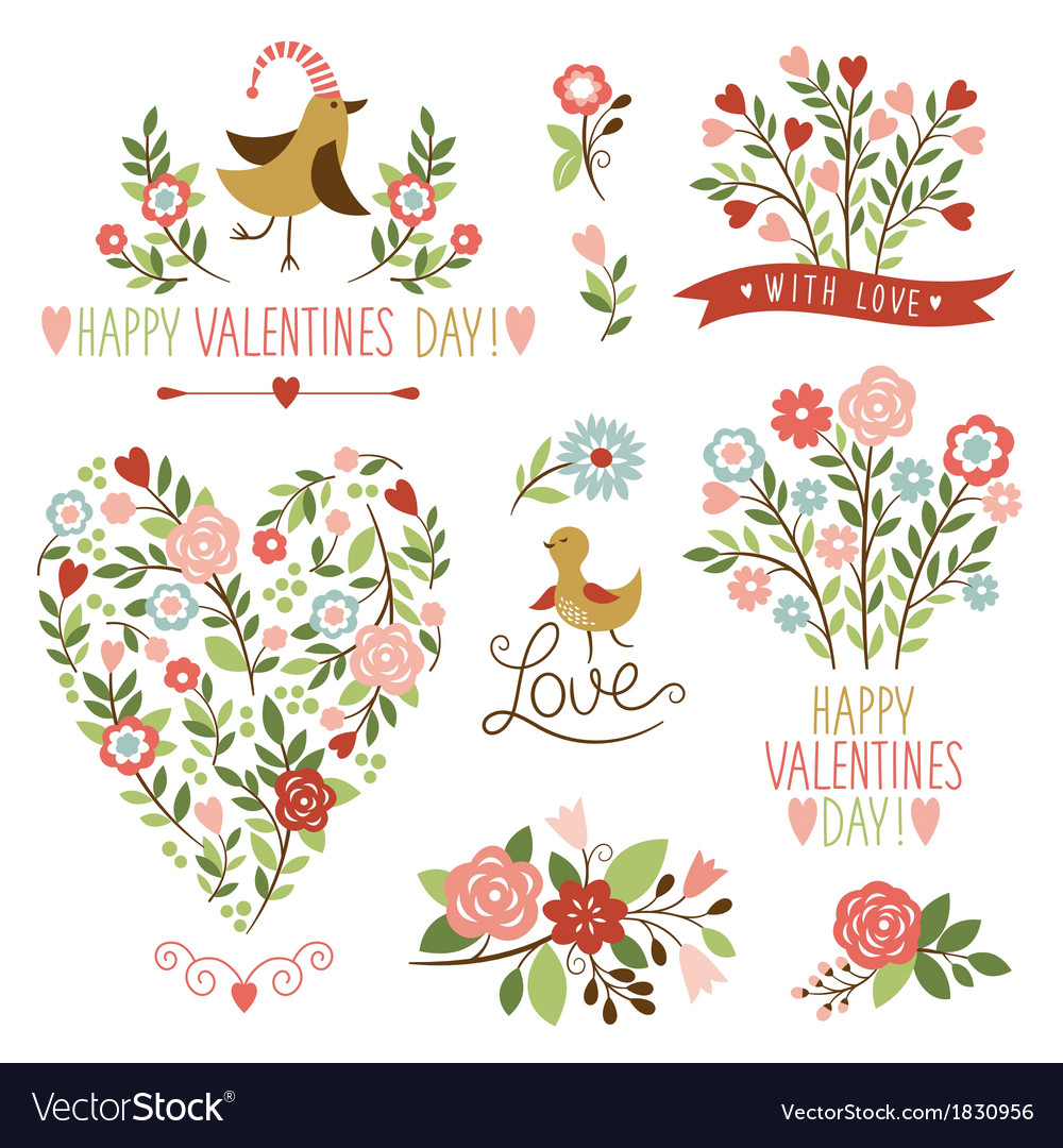 Valentines day graphic elements set vector | Price: 3 Credit (USD $3)