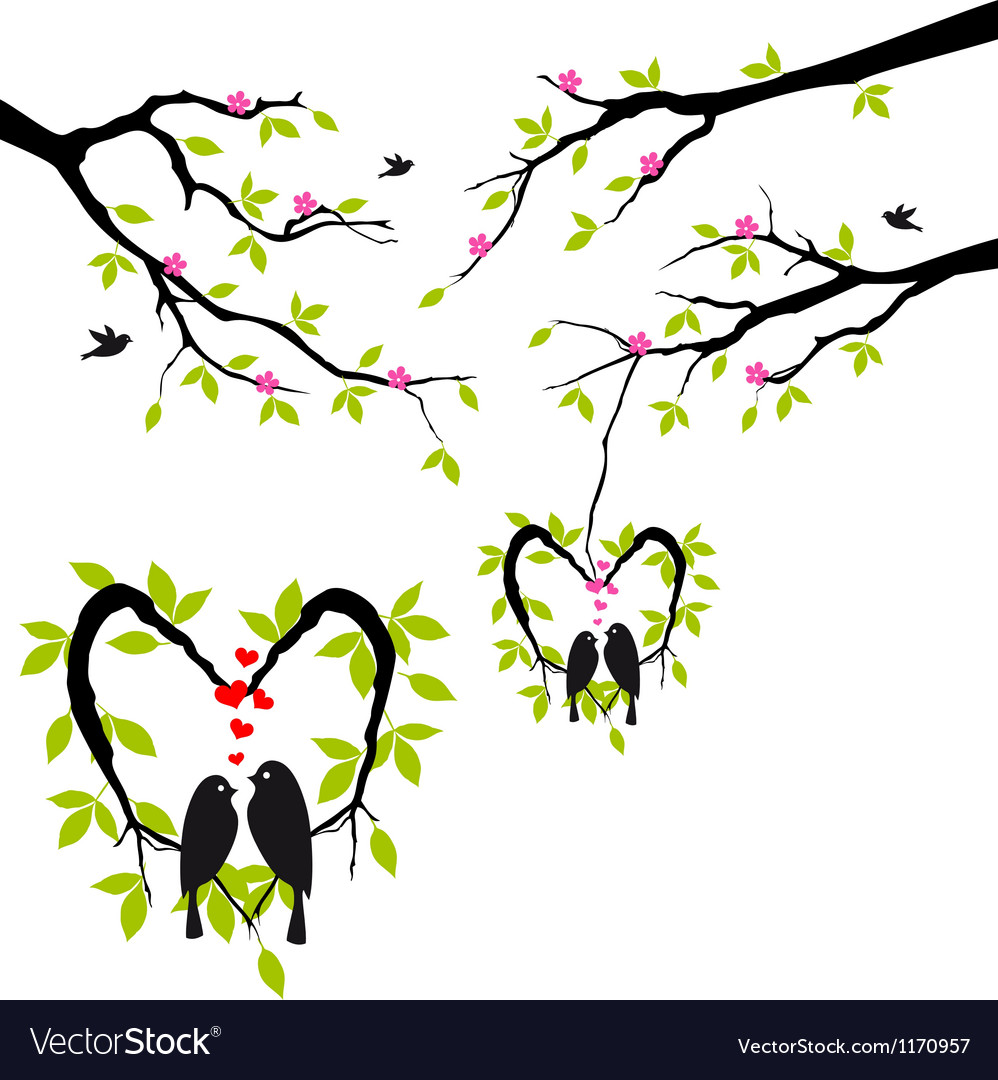Birds on tree in heart nest vector | Price: 1 Credit (USD $1)