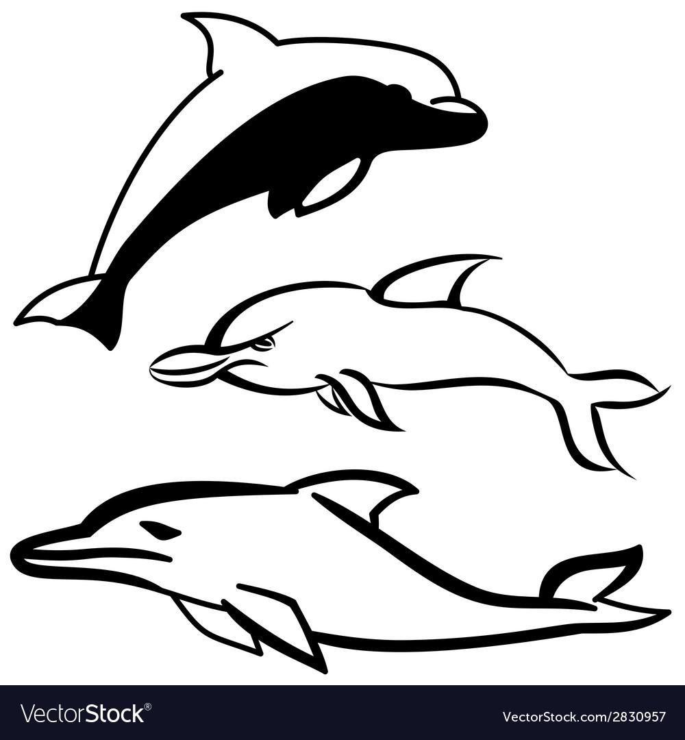Dolphin set vector | Price: 1 Credit (USD $1)