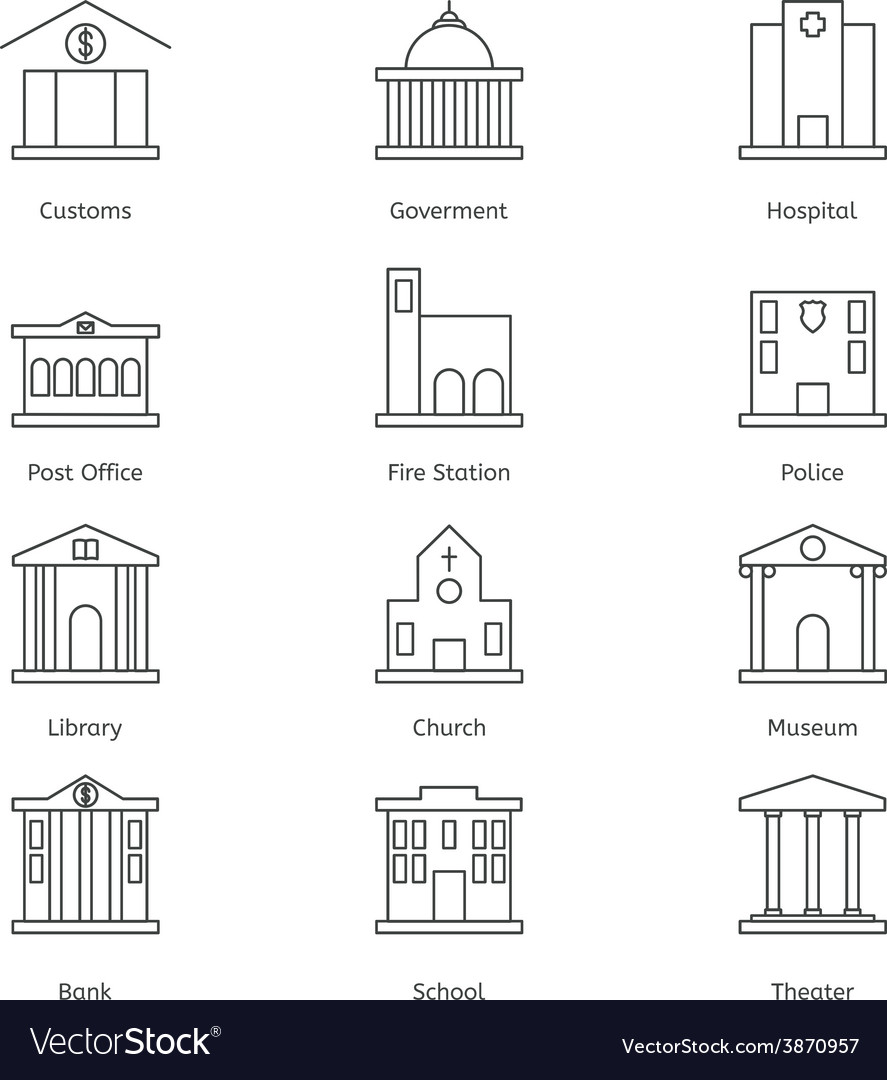 Government building icons set of police museum vector   Price: 1 Credit (USD $1)