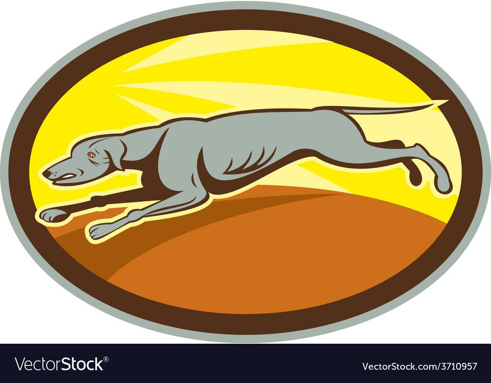 Greyhound dog jumping side oval cartoon vector | Price: 1 Credit (USD $1)