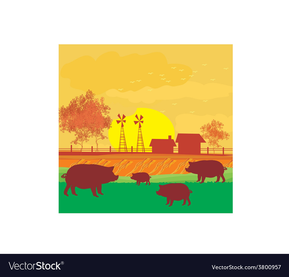Herd of pigs on nature background vector | Price: 1 Credit (USD $1)