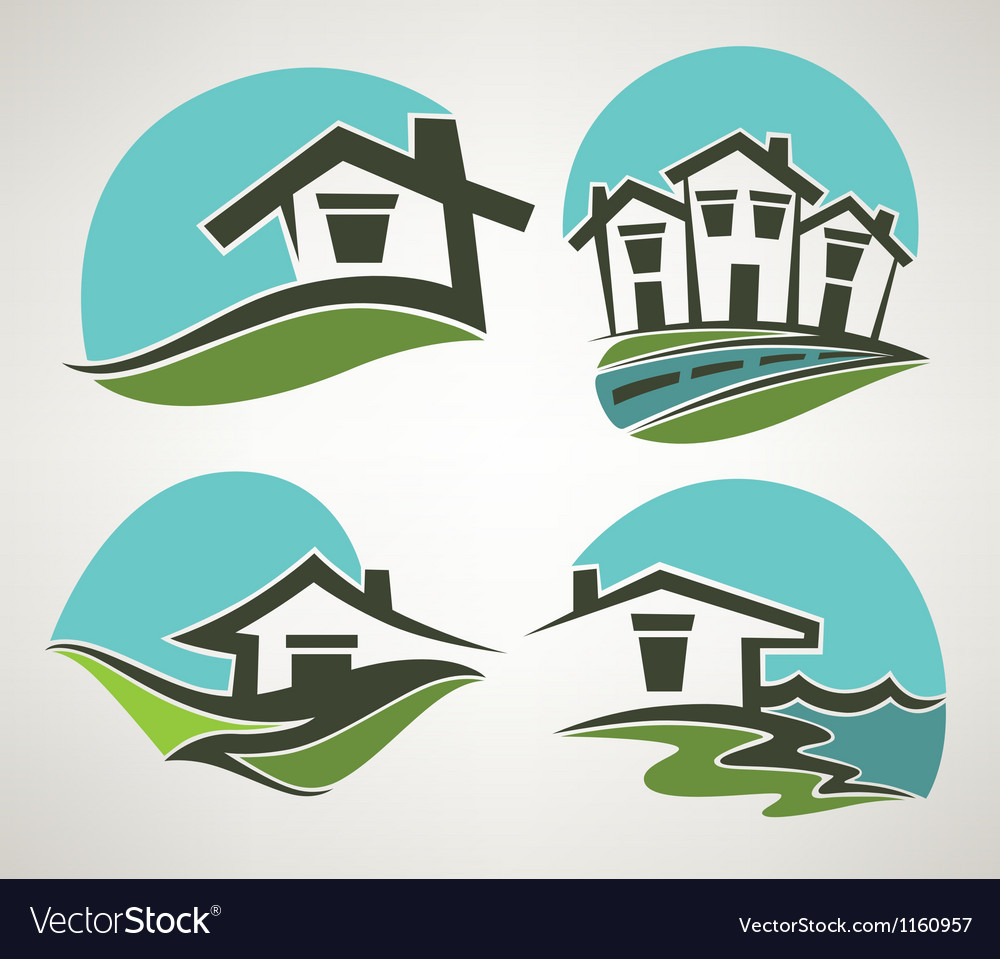 Little home in small town vector | Price: 1 Credit (USD $1)