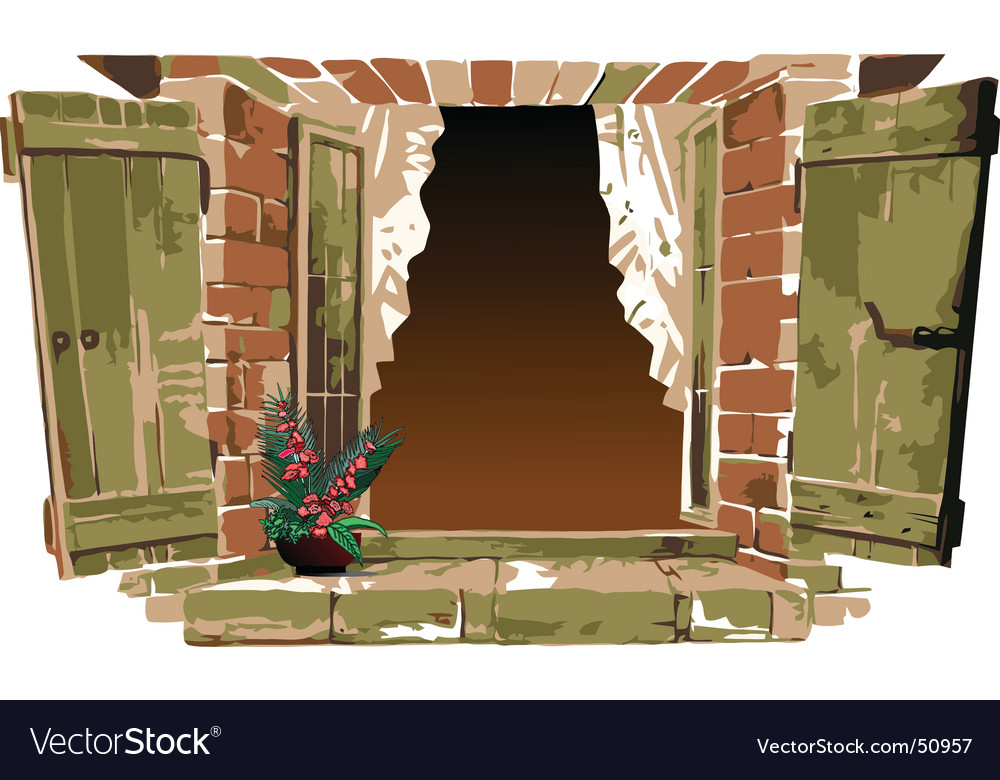 Old fashioned window with flower vector | Price: 1 Credit (USD $1)