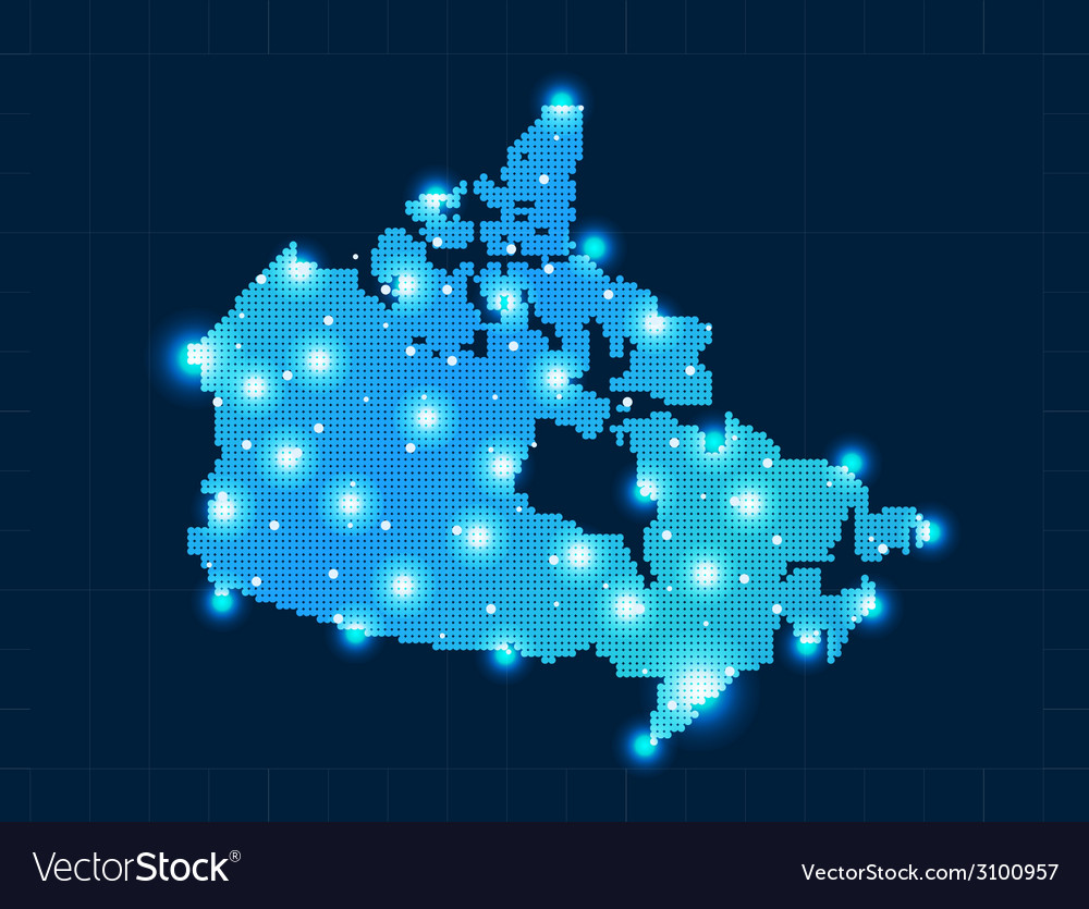 Pixel canada map with spot lights vector | Price: 1 Credit (USD $1)