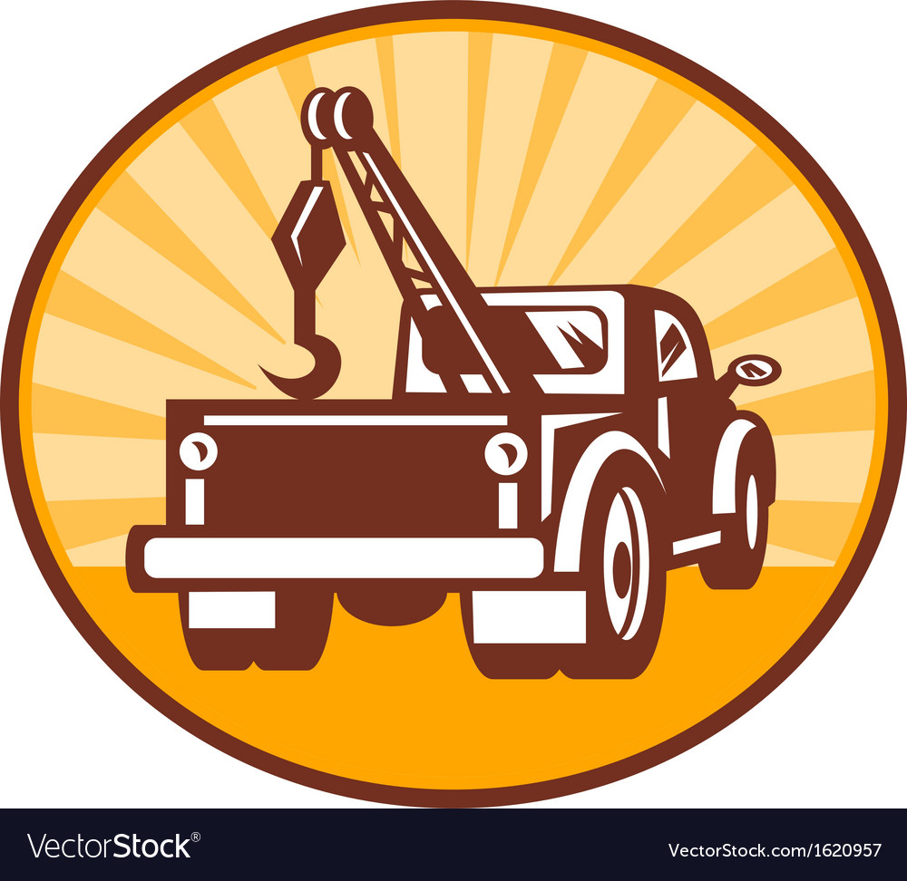 Rear view of a tow or wrecker truck vector | Price: 1 Credit (USD $1)