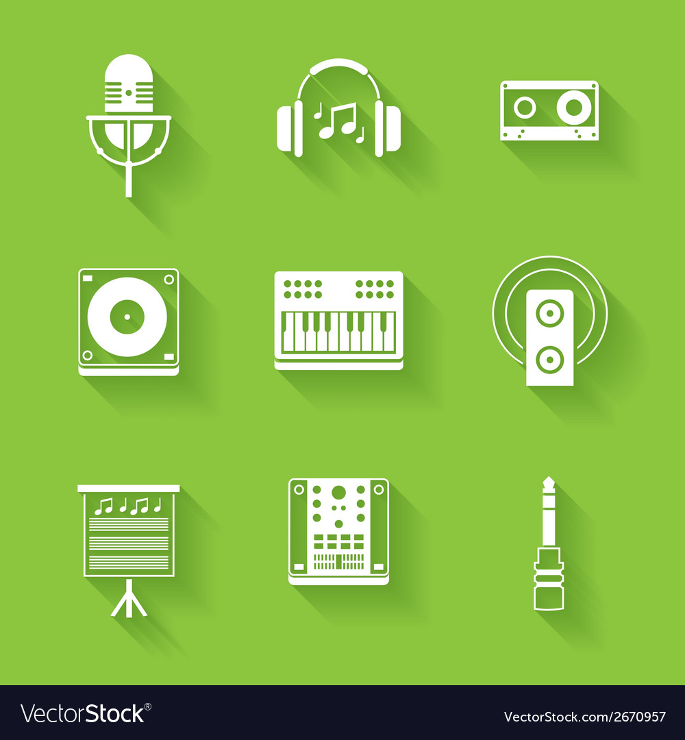 Set of white music and sound icons vector | Price: 1 Credit (USD $1)