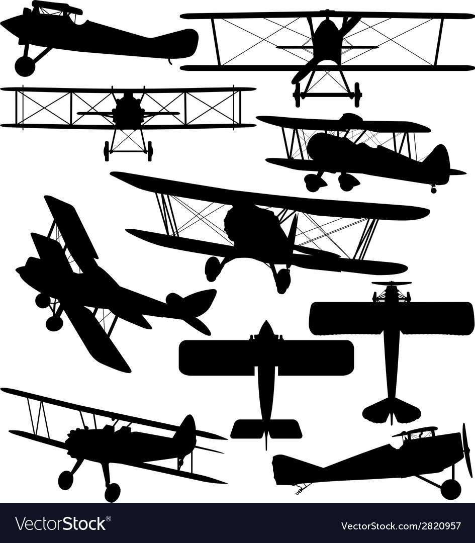 Silhouettes of old aeroplane  biplane vector