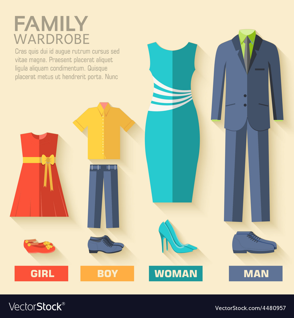 Style fashion clothing for family icon set vector | Price: 1 Credit (USD $1)